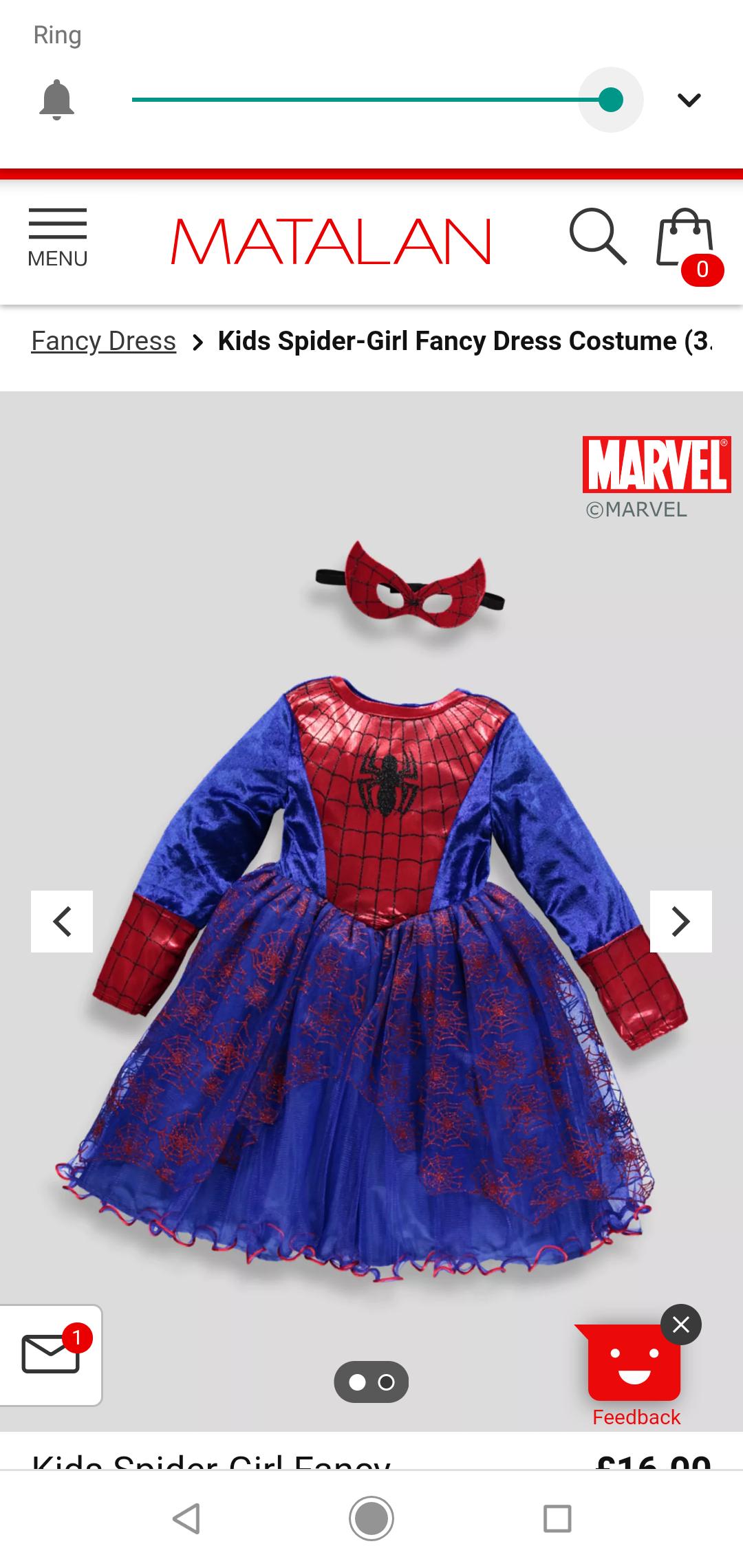 Spider girl costume £5 instore - matalan