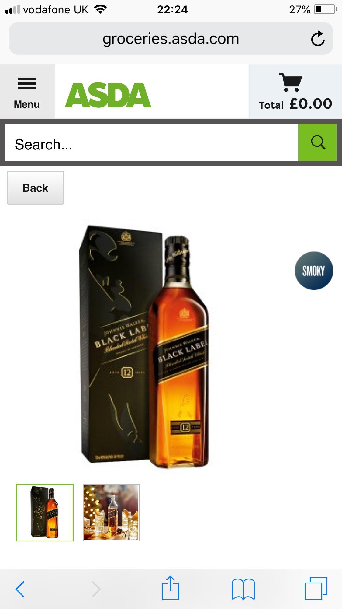 Johnnie Walker black label  Scotch Whisky 70cl at ASDA - £20 (also on Amazon)