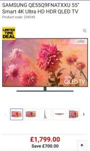 "SAMSUNG QE55Q9FNATXXU 55"" Smart 4K Ultra HD HDR QLED TV - £1699 with code @ Currys"