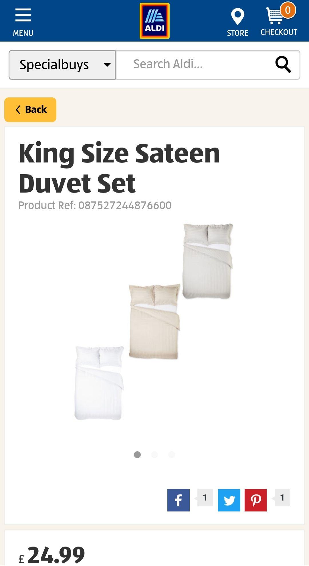 Aldi luxury Sateen  300tc kingsize duvet Set £24.99
