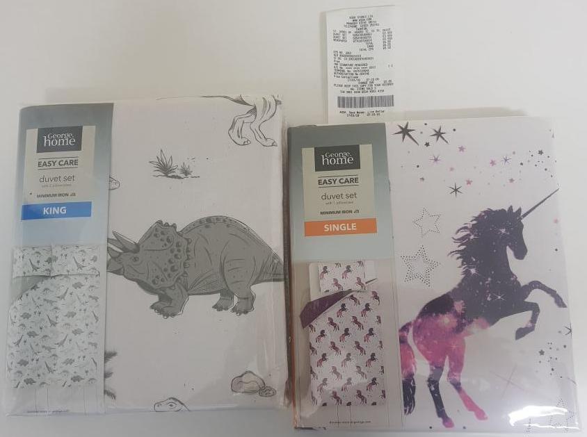 Duvet set king dinosaur £3.50  / single unicorn £2.50 at Asda instore