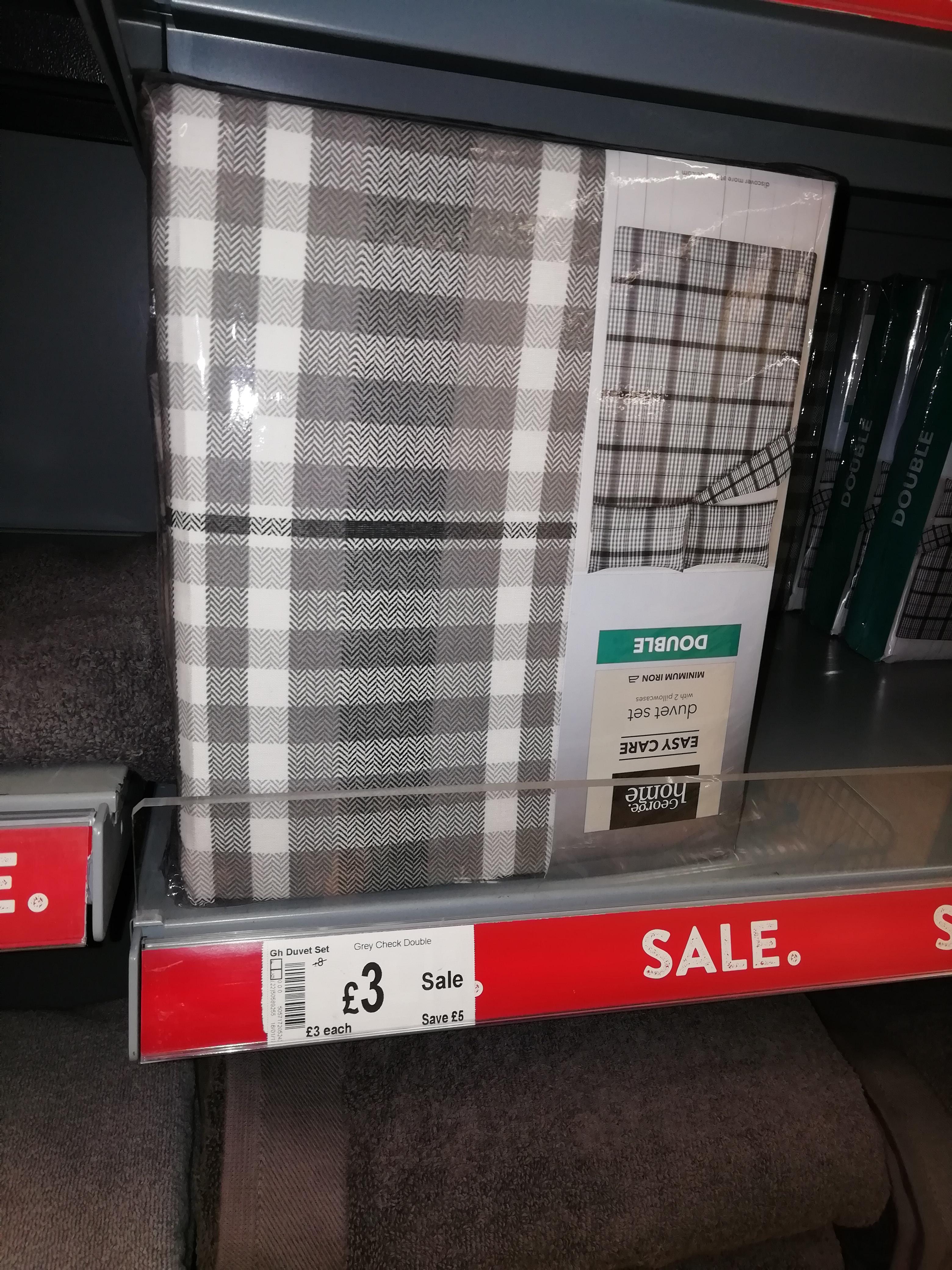Grey Check double duvet set @ asda £3.00 instore