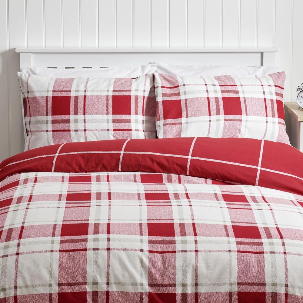 Half Price Wilko Alpine Red Check Duvet Set Double - £8 + Free C&C @ Wilko
