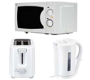 ESSENTIALS Solo Microwave, 2-Slice Toaster & Jug Kettle Bundle - White £55 Currys