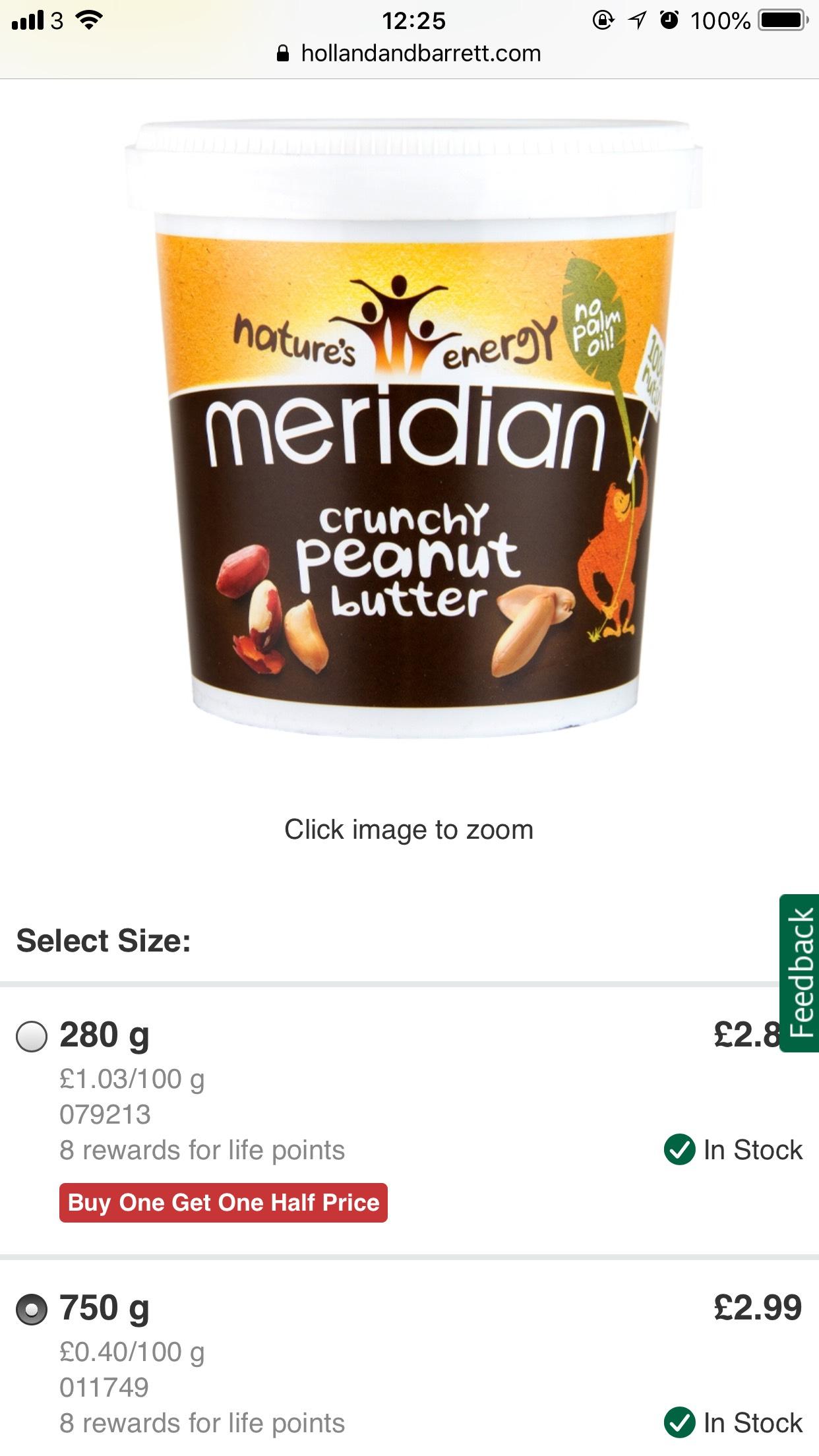Meridian peanut butter 750g £2.39 at Holland and Barrett