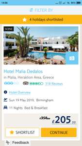 3* B&B 11 night holiday to Crete Greece Heraklion (£205pp) from Birmingham Sun 19May19 + 1% Topcashback - £410.60 @ TUI