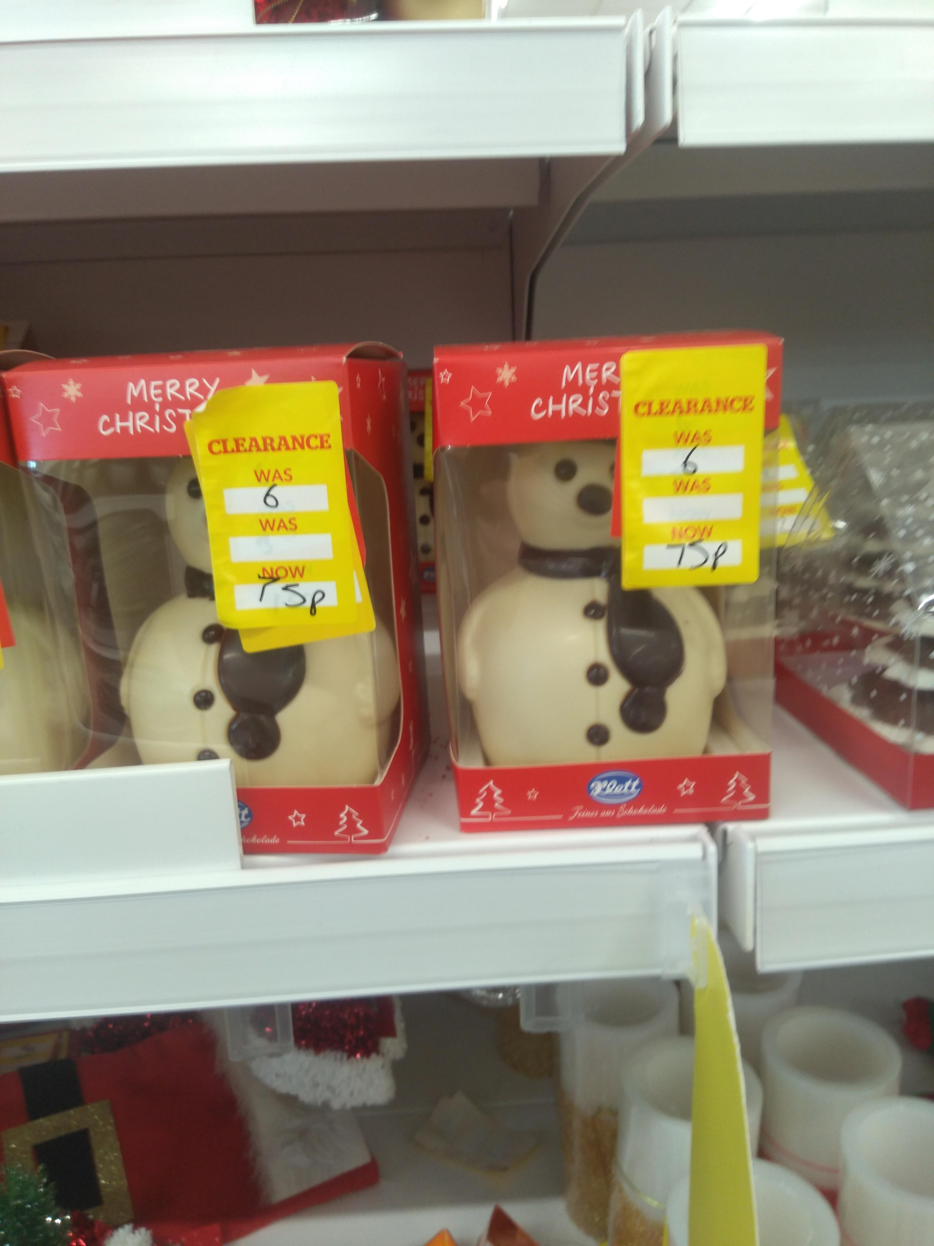 Chocolate snowman - 75p instore @ Dunelm