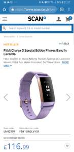 Fitbit Charge 3 Special Edition Fitness Band in Lavender or Frost White - £116.99 or 122.48 delivered @ Scan