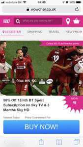 Half Price BT Sport £13.99 per month for a year + £20 activation fee with Wowcher (new BT Sport on Sky TV customers only)