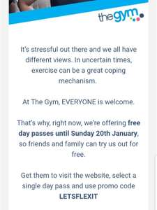 The Gym Group FREE day pass Sunday 20th Jan