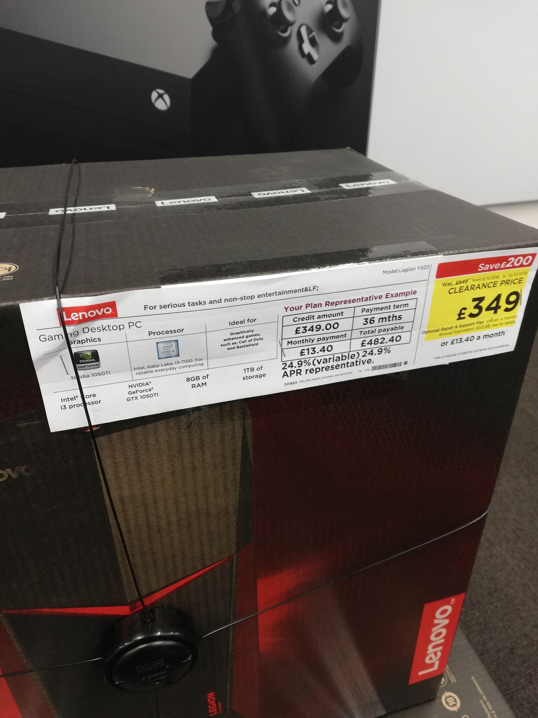 LENOVO LEGION I3 8GB 1TB GTX1050TI DESKTOP GAMING PC£349 @ Currys instore