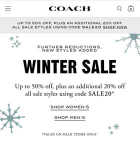 Coach upto 50% off Plus 20% off code