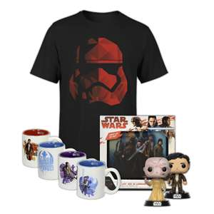 Pre-Order - Star Wars T-shirt + 2x Funko Pop! Figures / The Last Jedi 3D Lenticular Luminart / Espresso mug Set £27.97 Delivered @ IWOOT