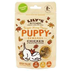 Lily's Kitchen Puppy Treats Chicken and White Fish Slices, 80 g, Pack of 12 Now £6.29 + £4.49 delivery (Non Prime) @ Amazon