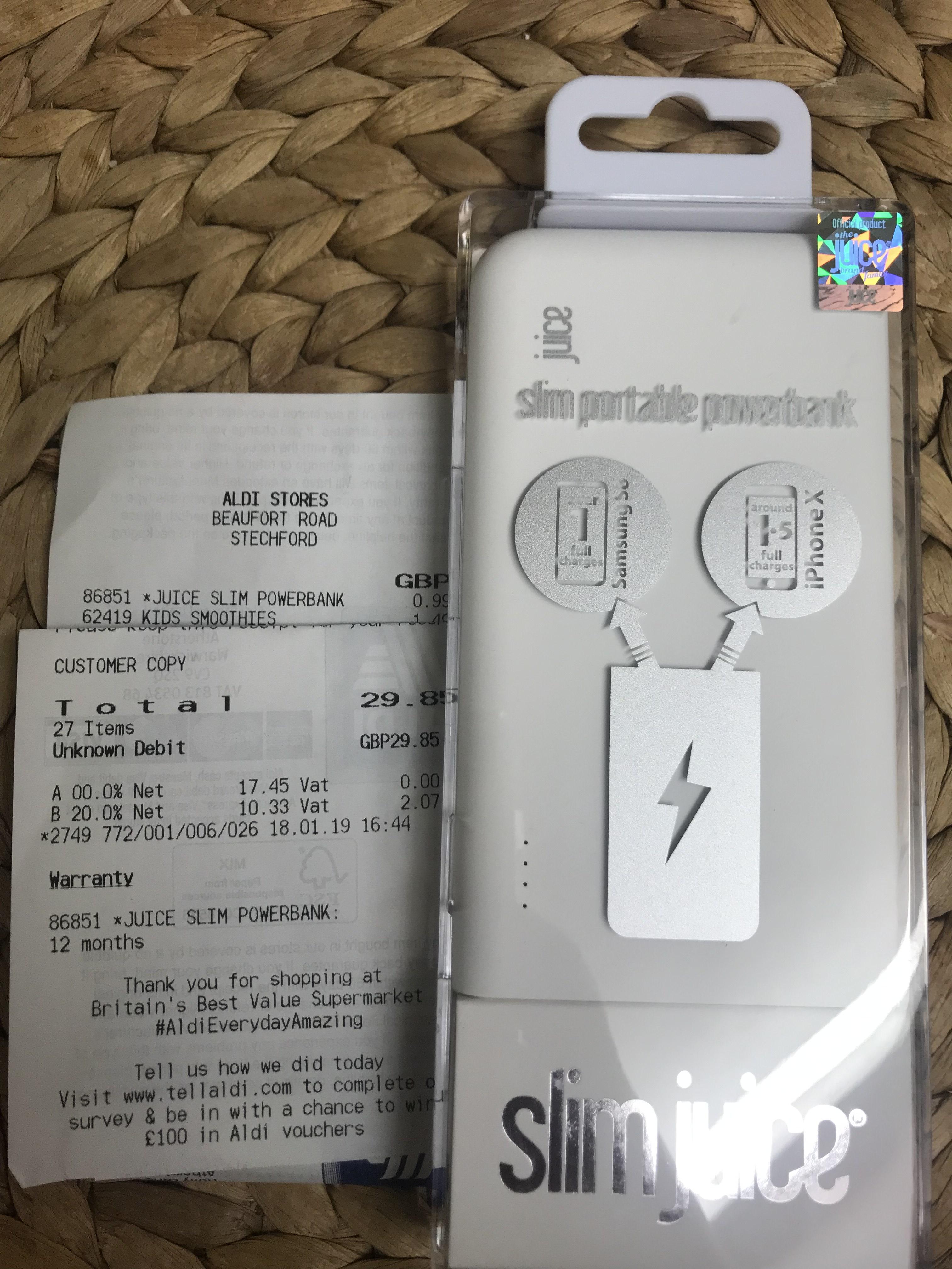 Juice Slim Portable Powerbank 5000mAh 99p @ ALDI