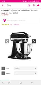 KitchenAid 125 Artisan 4.8l stand mixer - Onyx Black £279.99 @ Very