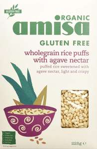 Amisa Organic Glutenfree Wholegrain Rice Puffs With Agave Nectar 225 g (Pack of 5) - £3.91 @ Amazon - Add on item