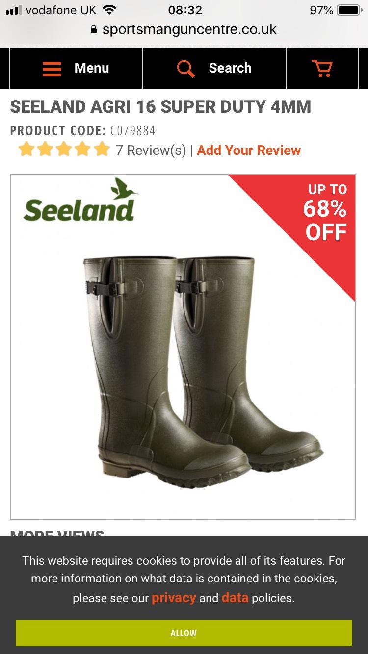 SEELAND AGRI 16 SUPER DUTY 4MM. £22.00+£5.98 delivery, boots should be £70.00 @ Sportsmagnumcentre