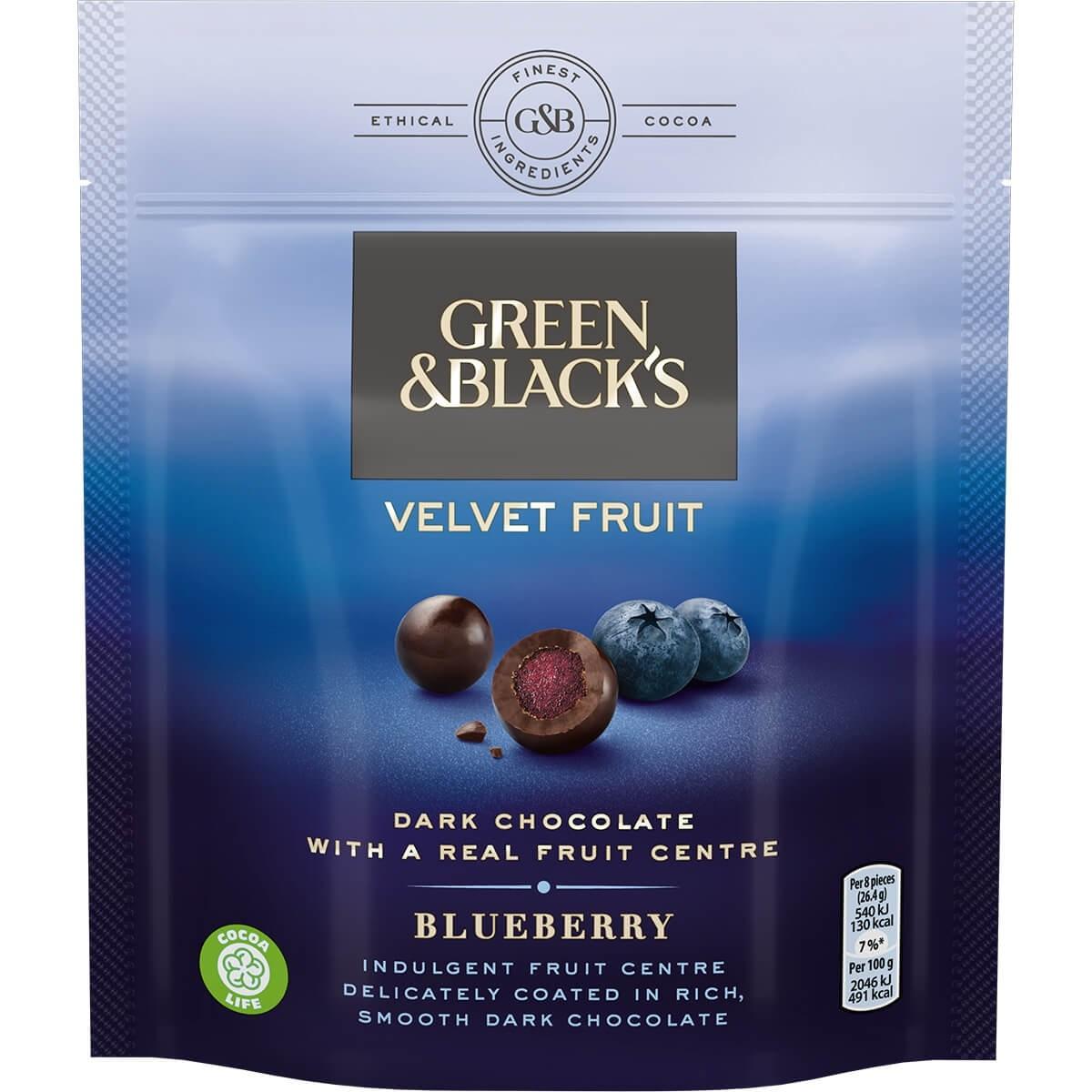 Green and Black's Velvet Fruit Blueberry or Orange £0.69 at Heron Foods