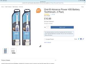 Oral B battery toothbrush twin pack - £10.99 @ Costco