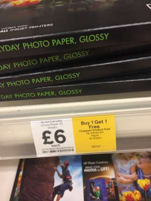 BOGOF HP Photo Paper £6 @ Tesco