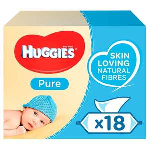 Huggies Pure Baby Wipes 18 x 56 per pack @ Ocado Two For £17.50