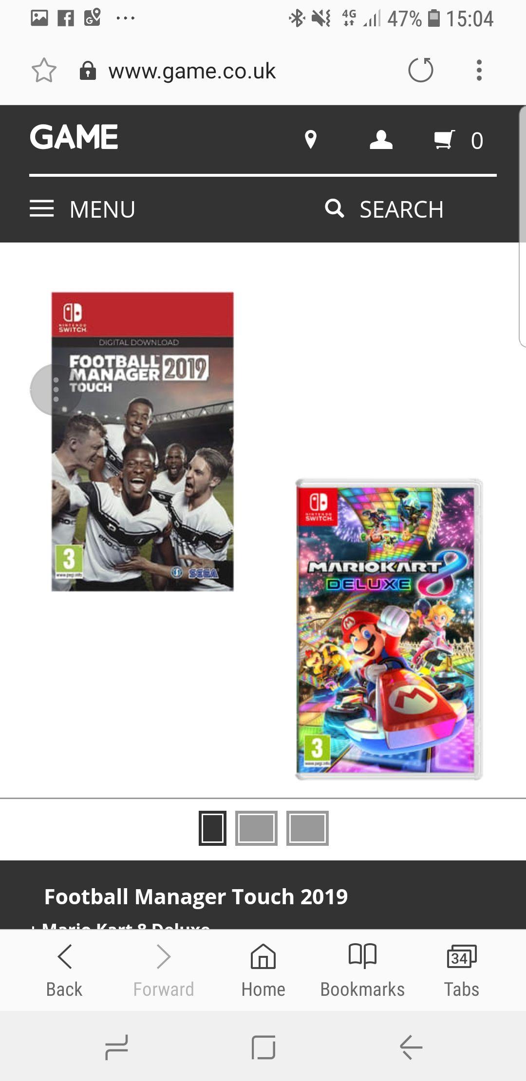 Mario Kart 8 + Football Manager Nintendo Switch - £61.98 @ Game