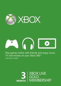 3 Month Xbox Live Gold Membership Card £7.99 (£7.75 with code) @ CdKeys