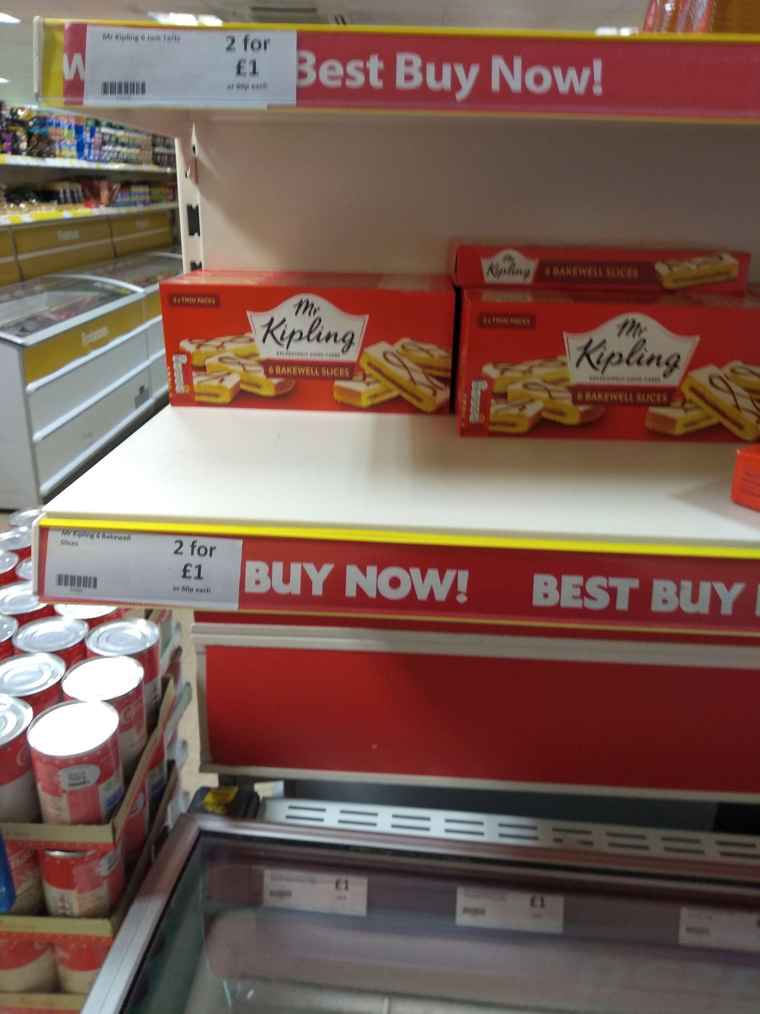 2 X 6 packs of Mr Kipling's Bakewell slices £1 instore @ Heron