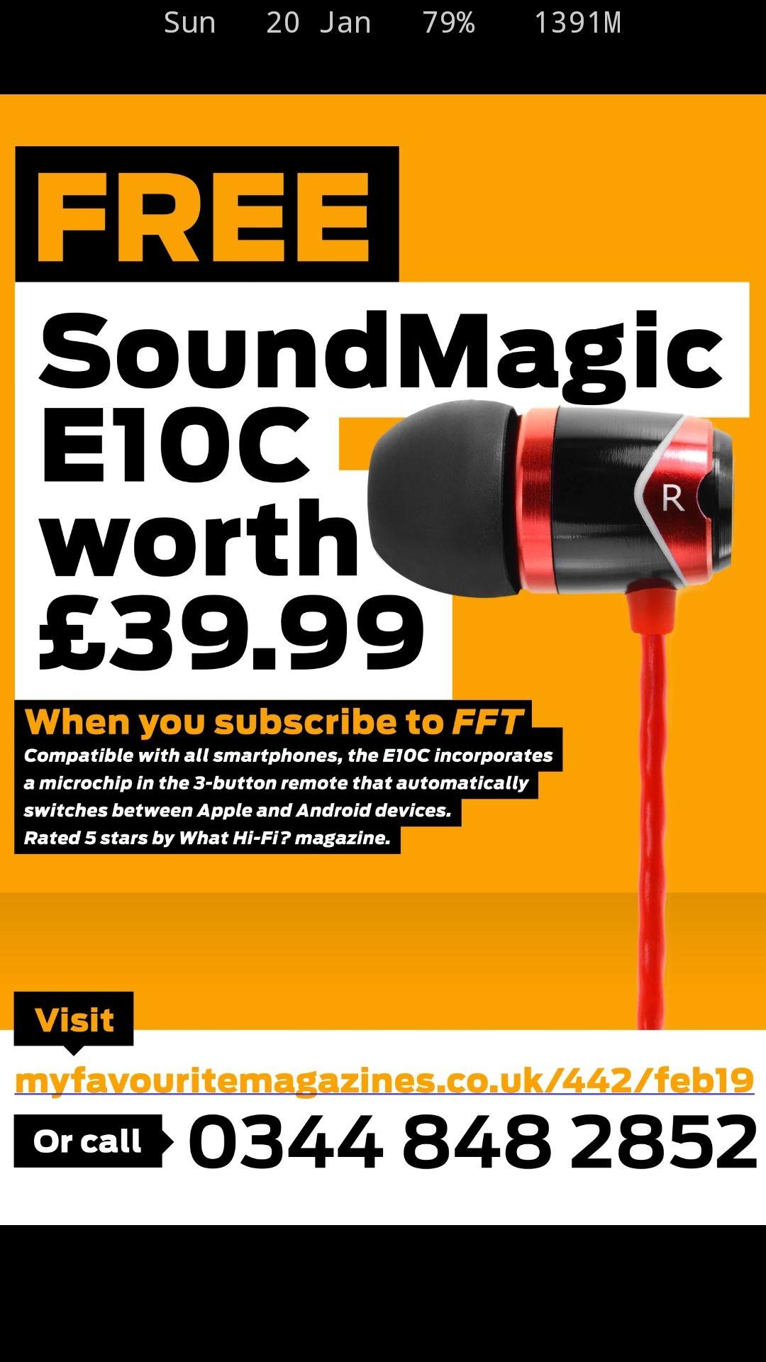 6 months subscription to Four Four Two football magazine - £19.99 @ My Favourite Magazine - Get SoundMagic E10C earphones worth £39.99