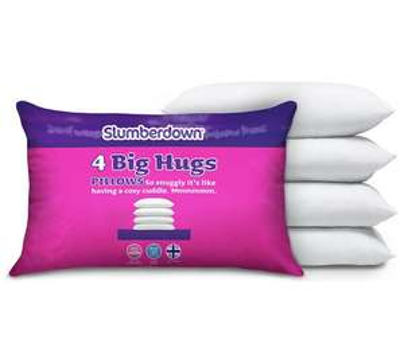 slumberdown big hugs 4 pack of pillows free c c. Black Bedroom Furniture Sets. Home Design Ideas
