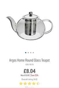 Round Glass Teapot, perfect for loose tea / coffee / teabags for £8.04 at Argos