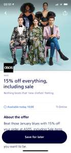 O2 priority - 15% off your order at ASOS available from 10am
