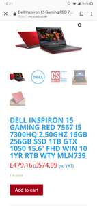 Refurbished + Onsite Warranty - Dell Inspiron 15 Gaming Red - i5HQ,16GB Ram,256SSD, 1TB HDD, GTX 1050 £574.99 @ MCS Technology