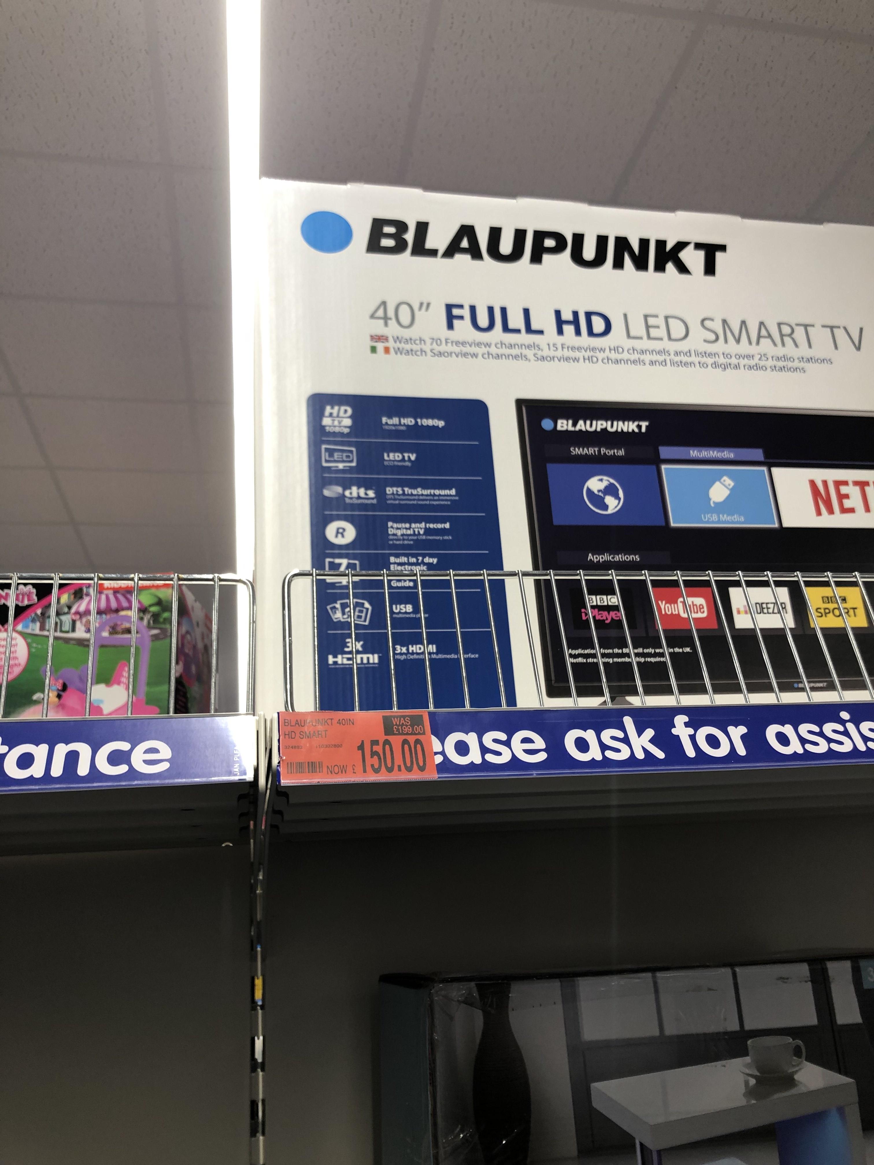 """40"""" blaupunkt smart hd tv £150 @ B&M"""