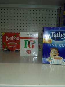 Brand One Cup tea bags, Typhoo, PG Tips, Tetley £1 each pack @ Poundland