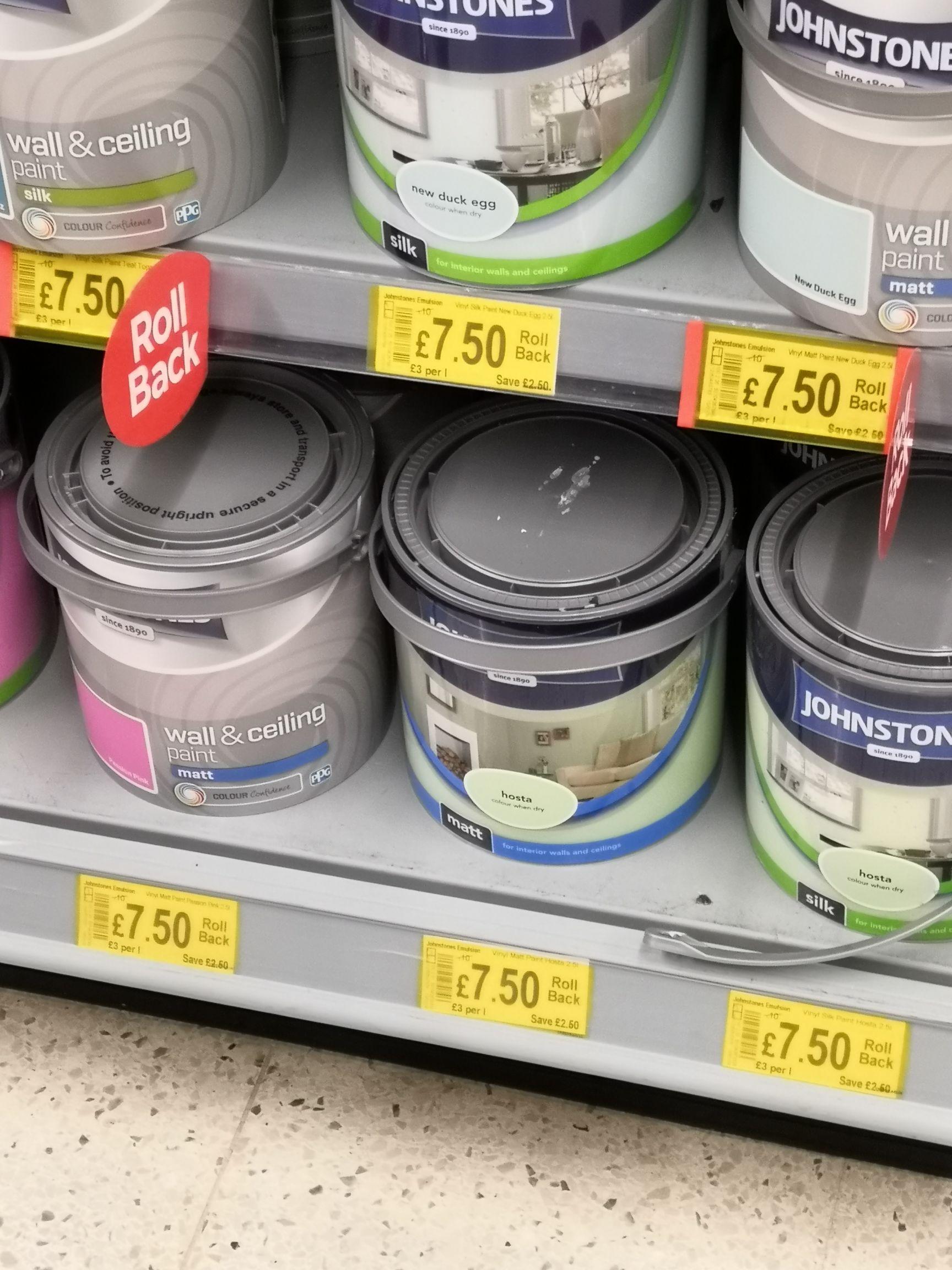 Asda Johnstone's 2.5l emulsion paint various £7.50 rollback instore @ asda