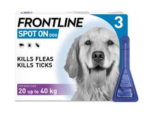 Frontline Spot On Flea and Tick Treatment for Large Dog (20-40kg) 3 Pipettes     £12.28 with Amazon Prime Subscribe & Save