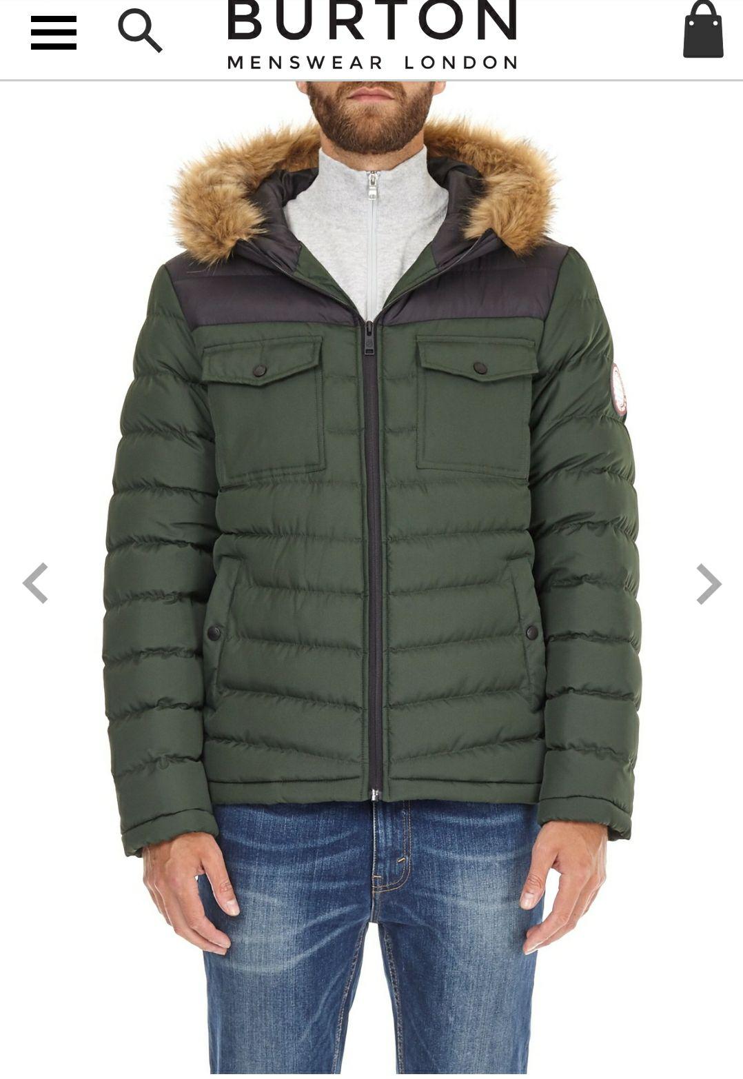 Two tone lightweight hooded Puffer jacket - £22.50 @ Burton