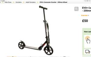 EVO Adult commuter scooter. £50 free c&c or home delivery @ Halfords