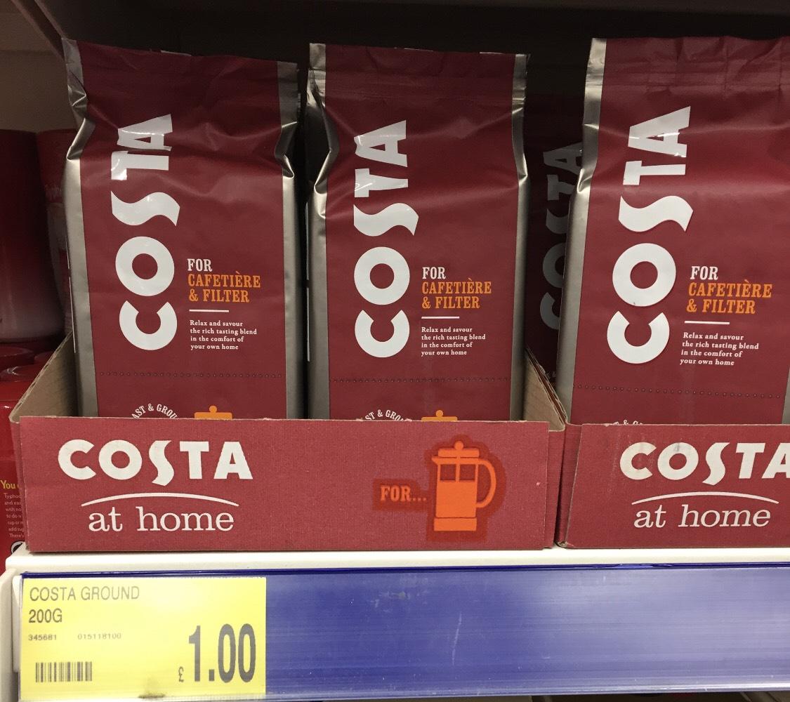 Costa ground coffee 200g £1 @ B&M