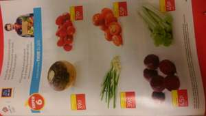 Aldi Super 6 available from 24/01 (Swede 39p Radish 39p Spring onions 39p Salad tomatoes 6 in a pack 45p Beetroot 45p Celery 45p)