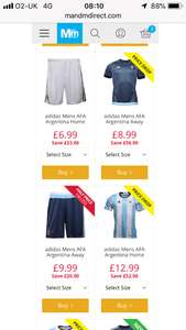 Be a Argentina FKW at Mandm direct home shirt £12.99 shorts £6.99 socks £3.49 (FKW price (£23.47) away shirt £8.99 (FKW £22.47) + £4.99 PP
