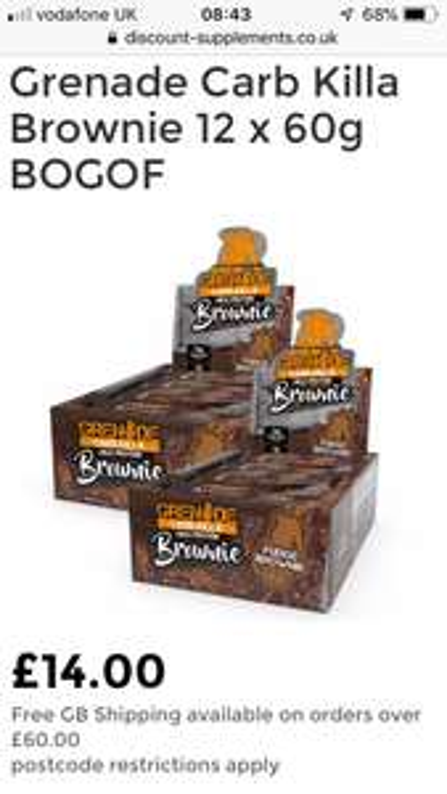 Grenade Carb Killa bars BOGOF £14 + £1.99 delivery at Discount Supplements