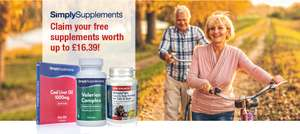 Claim Your Free Suppliments worth up to £16.39, Just Pay Postage of £2.49 @ SimplySupplements