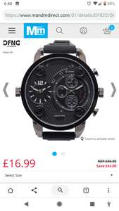 DFND London Mens Strap Dual Movement Watch x2 Independent Movements Black £16.99 / £21.98 delivered @ M&M direct
