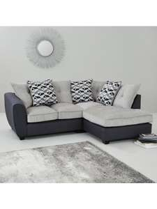 Juno Fabric Compact Right Hand Corner Chaise Scatter Back Sofa - £449 @ Very