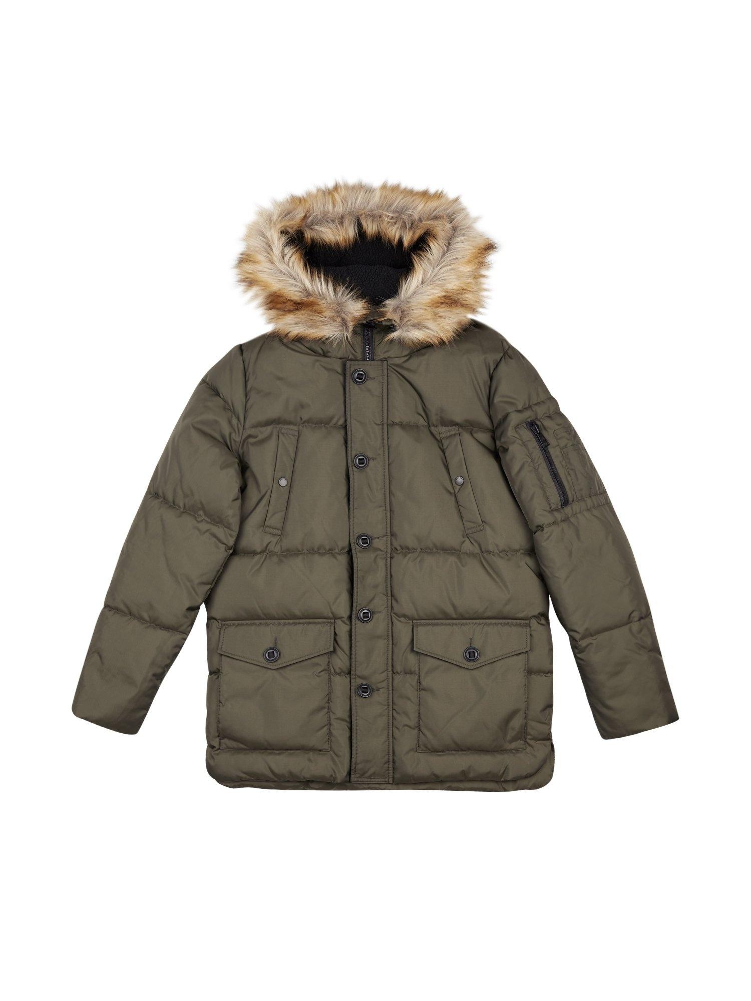Khaki Faux Fur Hooded Smart Parka Jacket £35 Burton