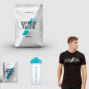 55% Off Declining Discount -1% every hour - 5KG Casein Protein + T Shirt + Shaker and Impact Whey sample £40.48 delivered @ Myprotein