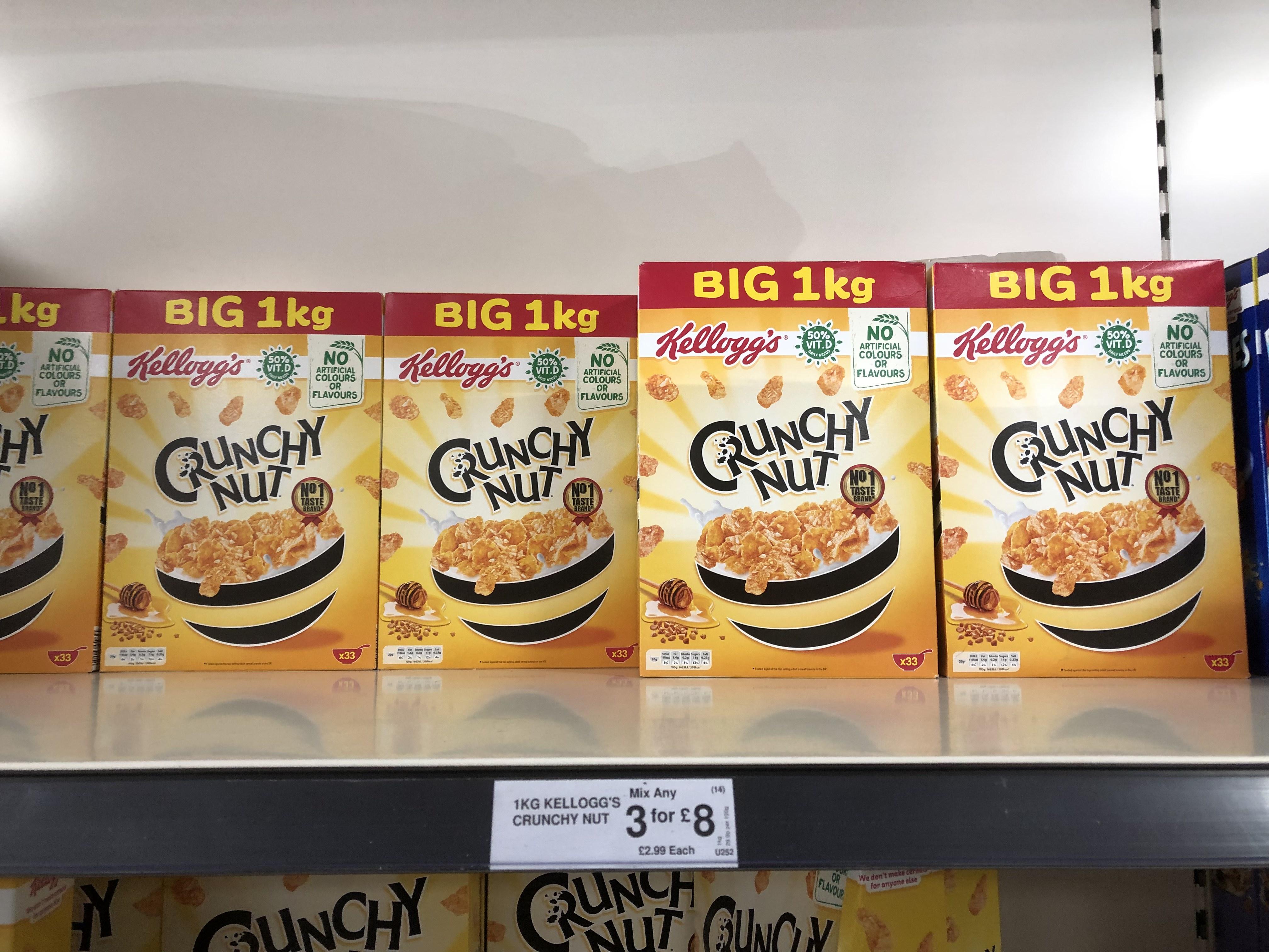 1kg Kellogg's Crunchy Nut cornflakes  box. 3 for £8 in Aldi Bradford
